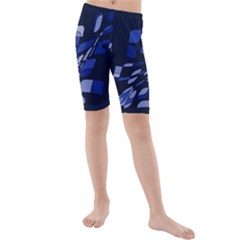 Blue abstraction Kid s Mid Length Swim Shorts by Valentinaart