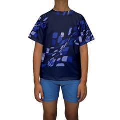 Blue abstraction Kid s Short Sleeve Swimwear by Valentinaart