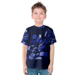 Blue abstraction Kid s Cotton Tee by Valentinaart