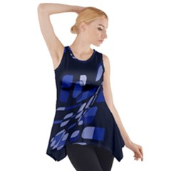 Blue Abstraction Side Drop Tank Tunic by Valentinaart