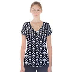 Skull and Crossbones Pattern Short Sleeve Front Detail Top