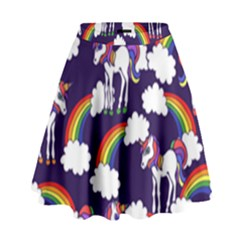 Retro Rainbows And Unicorns High Waist Skirt by BubbSnugg