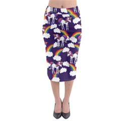 Retro Rainbows And Unicorns Midi Pencil Skirt by BubbSnugg