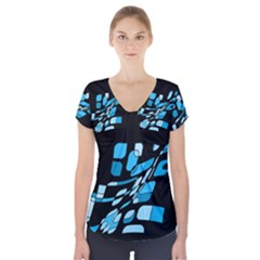 Blue abstraction Short Sleeve Front Detail Top by Valentinaart