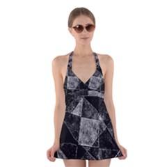 Dark Geometric Grunge Pattern Print Halter Swimsuit Dress by dflcprintsclothing
