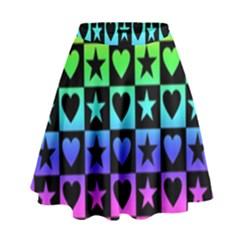 Rainbow Stars and Hearts High Waist Skirt by ArtistRoseanneJones
