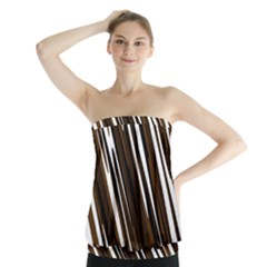 Black Brown And White Camo Streaks Strapless Top