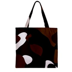 Black Brown And White Abstract 3 Zipper Grocery Tote Bag by TRENDYcouture