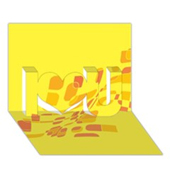 Yellow Abstraction I Love You 3d Greeting Card (7x5)  by Valentinaart