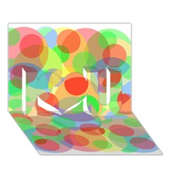 Colorful Circles I Love You 3d Greeting Card (7x5)  by Valentinaart