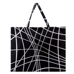 Black and white elegant lines Zipper Large Tote Bag