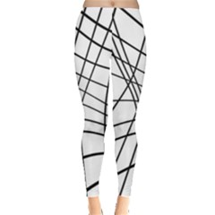 Black and white decorative lines Leggings  by Valentinaart