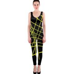 Yellow Abstraction Onepiece Catsuit by Valentinaart