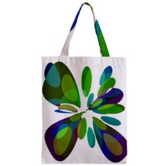 Green Abstract Flower Zipper Classic Tote Bag by Valentinaart