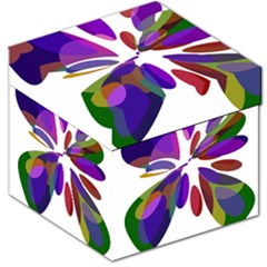 Colorful abstract flower Storage Stool 12   by Valentinaart
