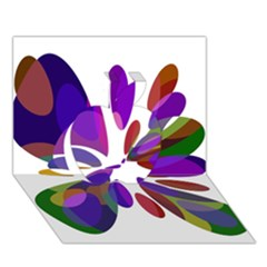 Colorful Abstract Flower Apple 3d Greeting Card (7x5)  by Valentinaart