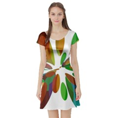 Colorful abstract flower Short Sleeve Skater Dress