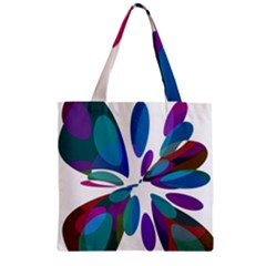 Blue Abstract Flower Zipper Grocery Tote Bag by Valentinaart