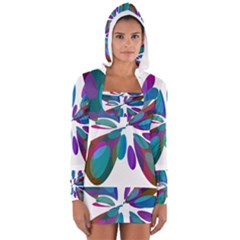 Blue Abstract Flower Women s Long Sleeve Hooded T Shirt