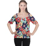Alexa Floral Women s Cutout Shoulder Tee