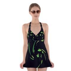 Green Twist Halter Swimsuit Dress by Valentinaart