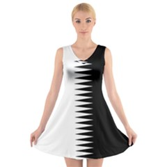 Black and white  V-Neck Sleeveless Skater Dress by olgart