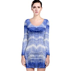 Tie Dye Indigo Long Sleeve Bodycon Dress by olgart