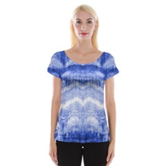 Tie Dye Indigo Women s Cap Sleeve Top by olgart