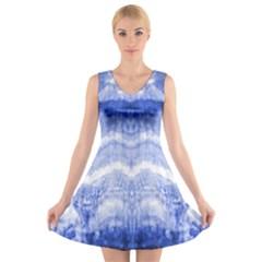 Tie Dye Indigo V-Neck Sleeveless Skater Dress by olgart