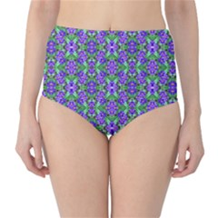 Pretty Purple Flowers Pattern High Waist Bikini Bottoms by BrightVibesDesign