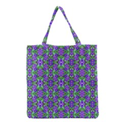 Pretty Purple Flowers Pattern Grocery Tote Bag by BrightVibesDesign