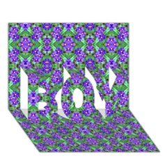 Pretty Purple Flowers Pattern Boy 3d Greeting Card (7x5) by BrightVibesDesign