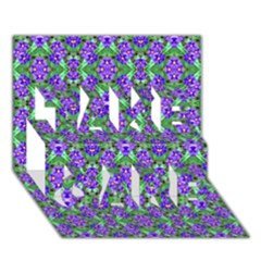 Pretty Purple Flowers Pattern Take Care 3d Greeting Card (7x5)  by BrightVibesDesign