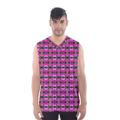 Pretty Pink Flower Pattern Men s Basketball Tank Top by BrightVibesDesign