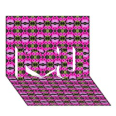 Pretty Pink Flower Pattern I Love You 3d Greeting Card (7x5)  by BrightVibesDesign