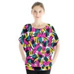Kate Tribal Abstract Batwing Chiffon Blouse