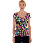 Kate Tribal Abstract Women s V-Neck Cap Sleeve Top