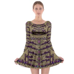 Lace Landscape Abstract Shimmering Lovely In The Dark Long Sleeve Skater Dress by pepitasart