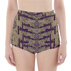 Lace Landscape Abstract Shimmering Lovely In The Dark High Waisted Bikini Bottoms by pepitasart