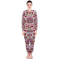 Love Bunnies In Peace And Popart Onepiece Jumpsuit (ladies)  by pepitasart