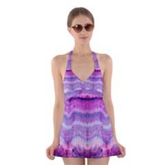 Tie Dye Color Halter Swimsuit Dress by olgart