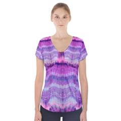 Tie Dye Color Short Sleeve Front Detail Top by olgart