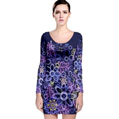 Night Flowers Long Sleeve Bodycon Dress by olgart
