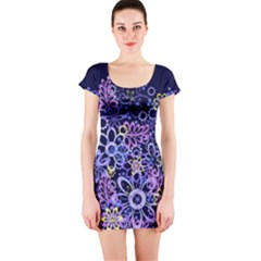 Night Flowers Short Sleeve Bodycon Dress by olgart