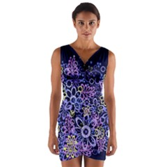 Night Flowers Wrap Front Bodycon Dress by olgart