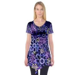 Night Flowers Short Sleeve Tunic  by olgart