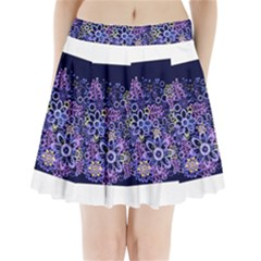 Night Flowers Pleated Mini Mesh Skirt(P209) by olgart