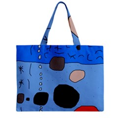 Blue Abstraction Zipper Mini Tote Bag by Valentinaart