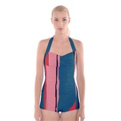 Decorative Lines Boyleg Halter Swimsuit