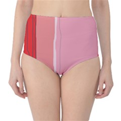 Red And Pink Lines High Waist Bikini Bottoms by Valentinaart